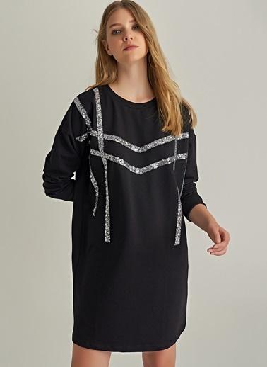 Ng Style Payet Şeritli Sweat Elbise Siyah